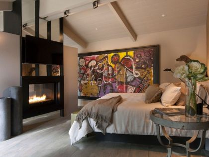 Pebble Beach Residence #interiors #bedroom #fireplace #bed