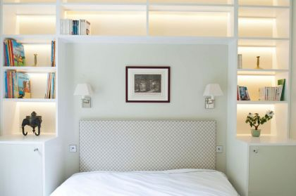 Redcliffe Gardens #interiors #bedroom #shelf
