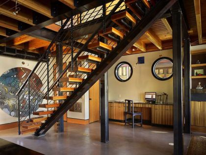 Lake Union Float Home #interiors #stairs