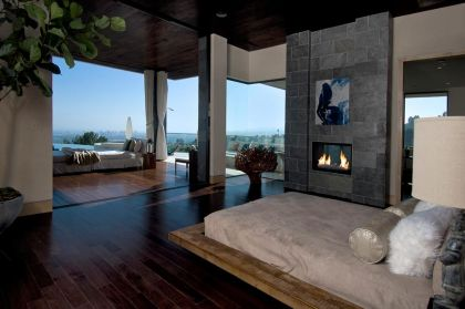 Blue Jay Residence Interior #interiors #bedroom #fireplace