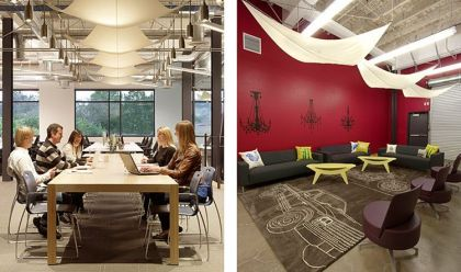 Skype's North American Headquarters in Palo Alto #interiors #office #desk