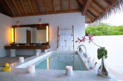Island Hideaway at Dhonakulhi Maldives, Spa Resort & Marina #interiors #pool #bathroom