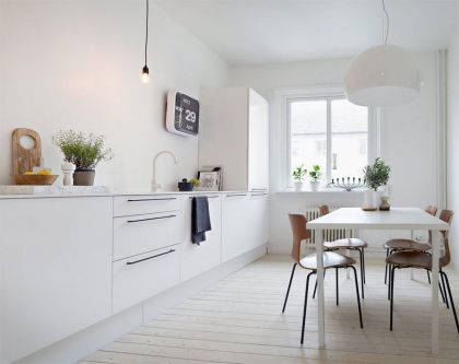 Scandinavian Design: White and Gray #interiors #kitchen #diningroom