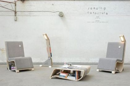 Reading furniture with built-in Storage for books #product #furniture #table #chair