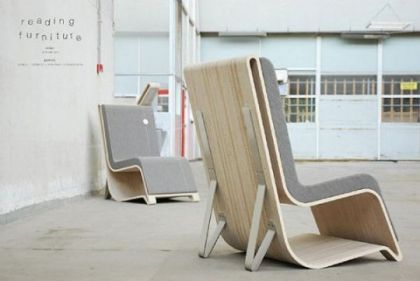 Reading furniture with built-in Storage for books Remy Van Oers