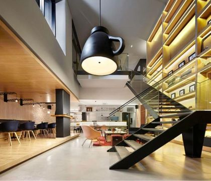 The Click Clack Hotel Bogota #interiors #hotel #stairs #light