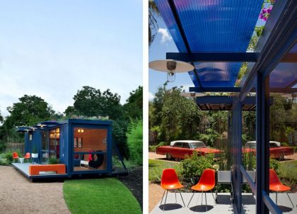 Container Guest House #interiors #container #garden #terrace