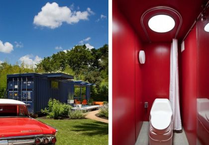 Container Guest House #interiors #container #bathroom