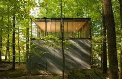 Cube shaped scholar library in catskill mountains