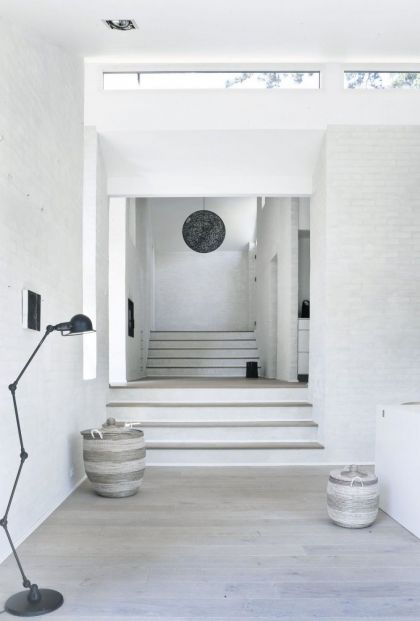 The white House in Copenhagen #interiors #stairs #corridor #light