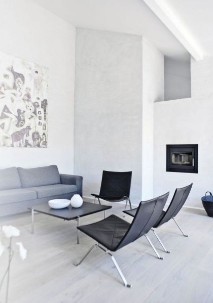 The white House in Copenhagen #interiors #livingroom #chair #sofa